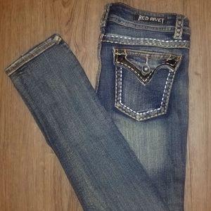 Woman Red Velvet Jeans ..SIZE 15